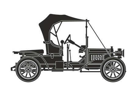 Ilustración de icon retro car black on the white background - Imagen libre de derechos