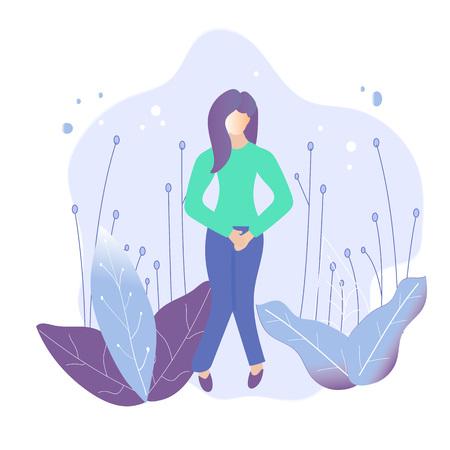 Illustration pour Female Urinary incontinence, cystitis, involuntary urination, menopause concept illustration. Vector - image libre de droit