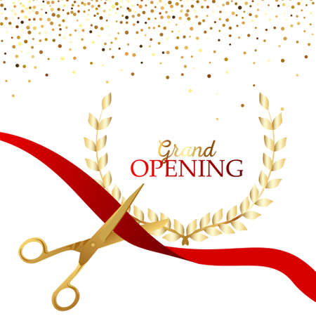 Illustration pour Grand opening design with ribbon, balloons and gold scissors, confetti. - image libre de droit
