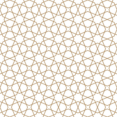 Illustration pour Seamless geometric ornament based on traditional arabic art. Muslim mosaic.Brown color.Great design for fabric,textile,cover,wrapping paper,background.Lines of average thickness. - image libre de droit