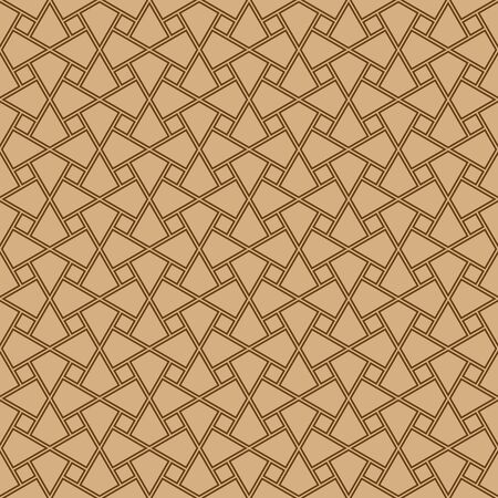 Illustration for Seamless geometric ornament based on traditional arabic art. Muslim mosaic.Brown color lines.Great design for fabric,textile,cover,wrapping paper,background.Average thickness.Doubled lines. - Royalty Free Image