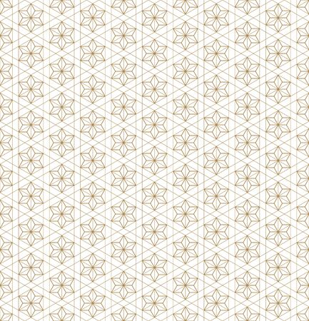 Illustration pour Japanese seamless geometric pattern .Gold silhouette lines.For design template,textile,fabric,wrapping paper,laser cutting and engraving.Fine lines. - image libre de droit