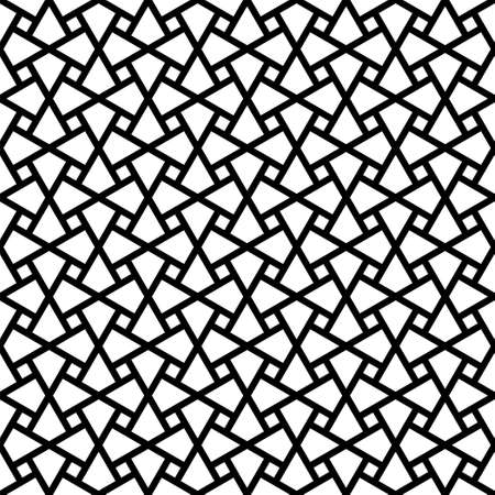 Illustration for Seamless geometric ornament based on traditional arabic art. Muslim mosaic.Black and white lines.Great design for fabric, textile, cover, wrapping paper, background, laser cutting.Thick lines. - Royalty Free Image