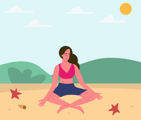 Illustration pour A girl practices yoga on the beach, asana. Yoga poses, yoga in nature. Meditation by the water - image libre de droit