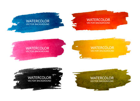 Illustration for Vector beautiful watercolor backgrounds for your design in 6 colours. Vector illustration - Royalty Free Image