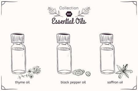 Illustration pour A set of essential oils in black and white style: thyme, black pepper, saffron. Vector illustration - image libre de droit