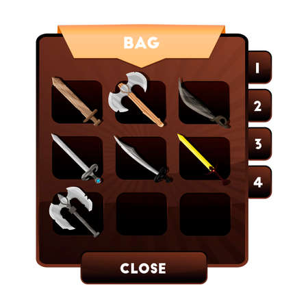 An example of the game window with the choice of weapons or other objects and resources in a backpack for computer games. \'s bag of artifacts.