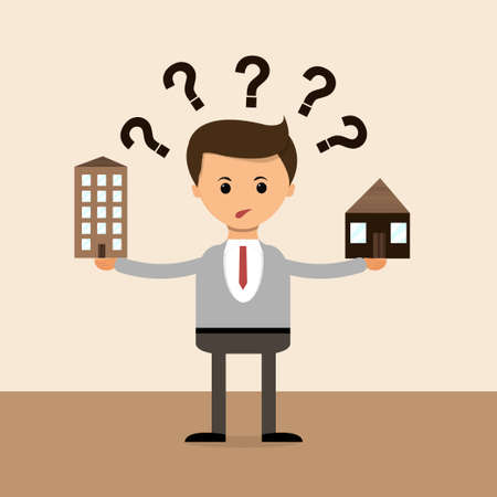 Illustration pour Business concept in flat design. Businessman in The question of choice between the house and the apartment, the village and the town. - image libre de droit