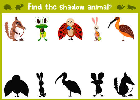 Illustration pour Cartoon Illustration of Education Shadow Matching Game for Preschool Children find the shade for five cute animals. - image libre de droit