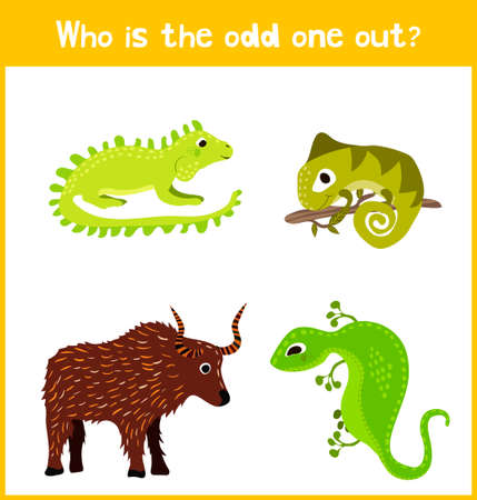 Illustration pour Children colorful educational cartoon game puzzle page for children's books and magazines on the theme of extra animal find cute among cold-blooded reptiles lizards. Vector illustration - image libre de droit