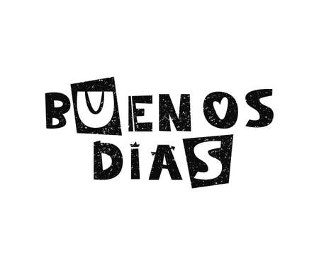 Illustration pour Vector hand drawn lettering Buenos dias, good morning in Spanish. - image libre de droit