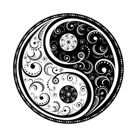Ilustración de Yin Yang Symbol vector illustration. EPS8, all parts closed, possibility to edit. - Imagen libre de derechos