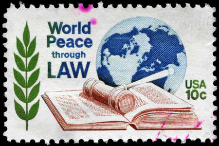USA - CIRCA 1975: A Stamp printed in USA devoted to 7th World Conf. of the World Peace Through Law Center, circa 1975