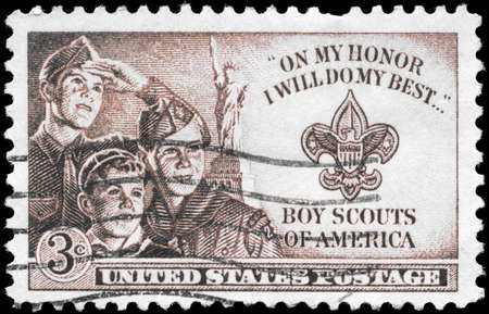 USA - CIRCA 1950: A Stamp printed in USA shows the Three Boys, Statue of Liberty and Scout Badge, circa 1950