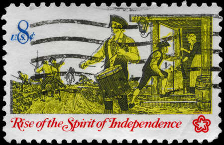 USA - CIRCA 1973: A Stamp printed in USA shows a Drummer, from the series Rise of the Spirit of Independence, circa 1973