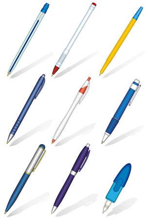 Ballpoint pens set on a white background
