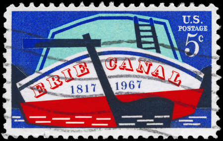 USA - CIRCA 1967: A Stamp printed in USA shows the Stern of Early Canal Boat, Erie Canal Issue, circa 1967