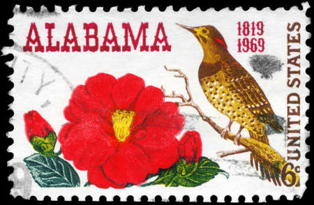 USA - CIRCA 1969: A Stamp printed in USA shows the Camellia & Yellow-shafted Flicker, Alabama Statehood, 150th anniversary, circa 1969