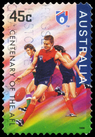 AUSTRALIA - CIRCA 1996: A Stamp printed in AUSTRALIA shows the Melbourne Demons, Centenary of the AFL series, circa 1996