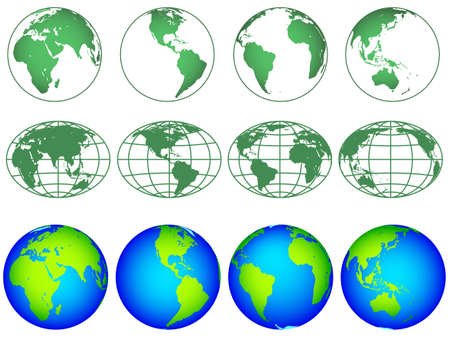 Illustration of the globes hemisphere icon collection. Elements of this image furnished by NASA. Source of map:  http://visibleearth.nasa.gov/view.php?id=74518