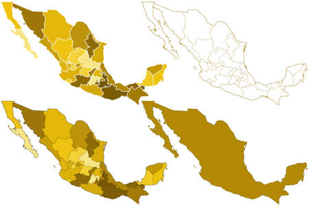 Contour silhouette border maps of the Mexico. All objects are independent and fully editable.