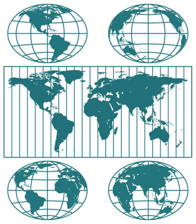 Illustration of the various globes hemisphere and world map.