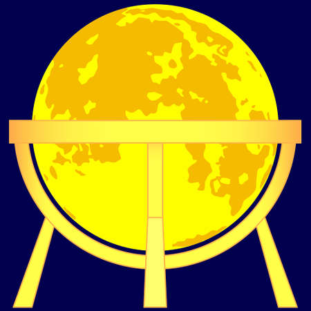 Illustration of the Moon globe on gold stand icon