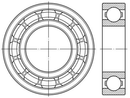 Illustration of the contour ball bearing