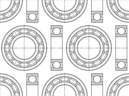 Continuous pattern of the contour ball bearings on white backdrop illustration.