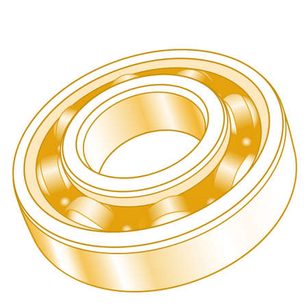 Illustration of the abstract gold volumetric ball bearing