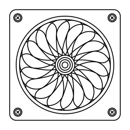 Illustration of contour computer spinning fan