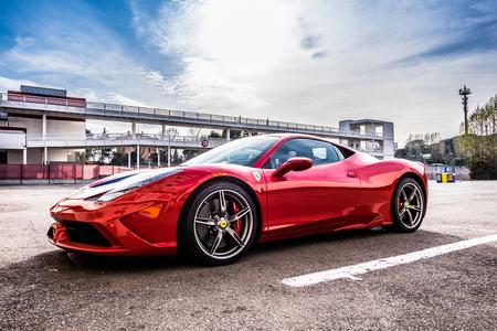 Foto de March 2017: Ferrari 458 supercar parked at Circuit de Catalunya in Barcelona Spain - Imagen libre de derechos
