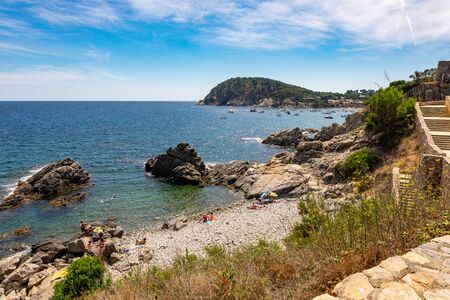 Foto de Landscape Fosca beach in Palamos, Costa brava, Catalonia, Spain - Imagen libre de derechos