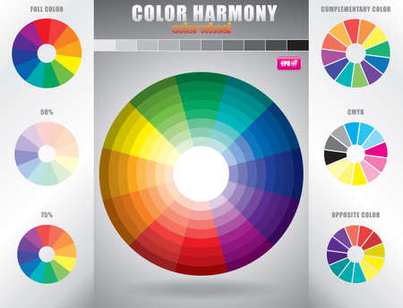 Color harmony Color wheel with shade of colors