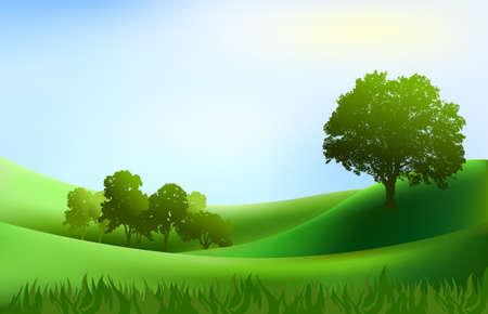 Illustration pour landscape trees hills background illustration - image libre de droit