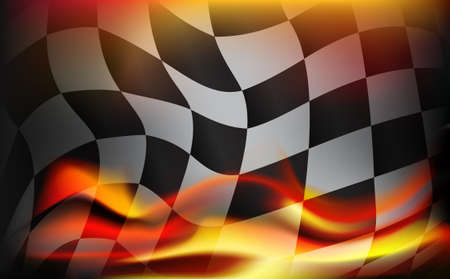 Ilustración de checkered flag background and red flames - Imagen libre de derechos