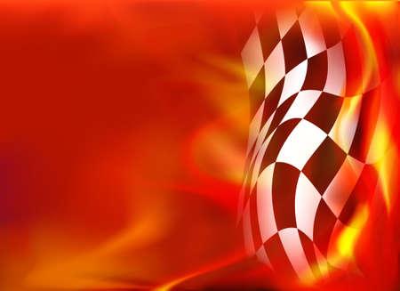 Illustration pour checkered flag background and red flames - image libre de droit