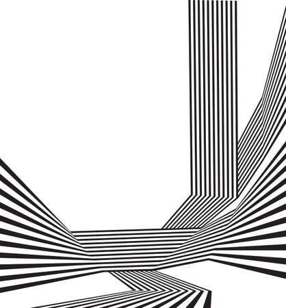 Illustration pour black and white mobious wave stripe optical abstract design - image libre de droit