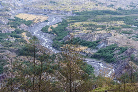 River flowing from Mount St. Helens in Washington, USA
