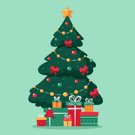Illustration pour Christmas tree with toys amd presents. Merry christmas. Vector illustration. - image libre de droit