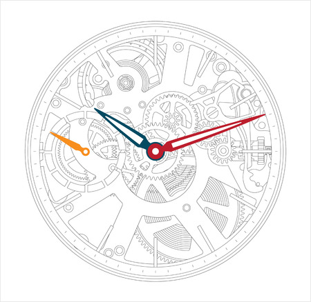Vector illustration of a metallic mechanical watch and clock component