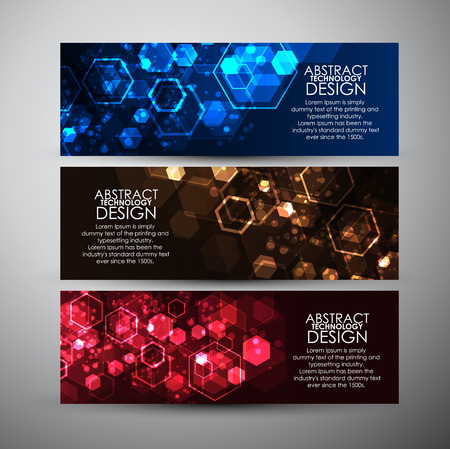 Photo pour Vector banners set with Abstract hexagons background. - image libre de droit