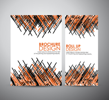 Abstract painted brush. Brochure business design template or roll up. Vector Illustration.