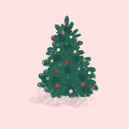 Illustration pour Hand drawn and textured decorated Christmas tree vector illustration - image libre de droit