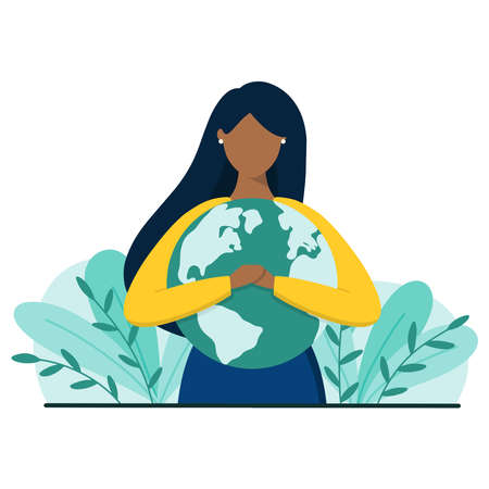 Illustration for Black woman hugs planet Earth with love and care. Earth day or save planet concept. Flat style vector illustration. - Royalty Free Image