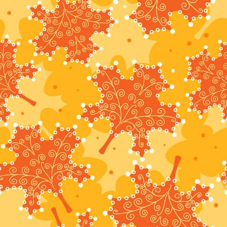 Seamless pattern yellow leaves.