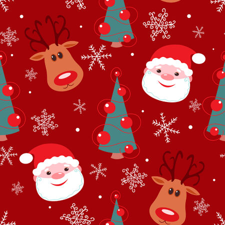 Seamless christmas pattern. Rudolph, santa, tree and snowflakes on red background.