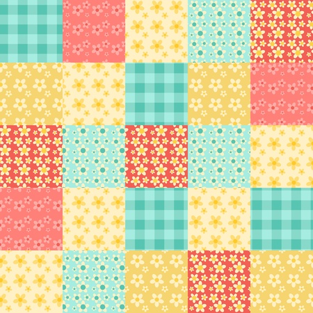 Illustration for Seamless patchwork pattern. Vintage vector background. - Royalty Free Image
