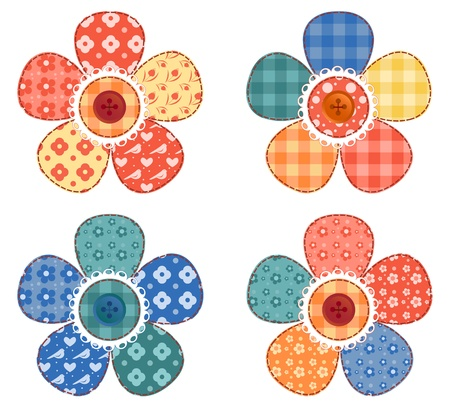 Ilustración de Set of four patchwork flower  - Imagen libre de derechos