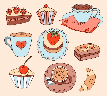 Coffee and cakes. Cartoon vector illustration.